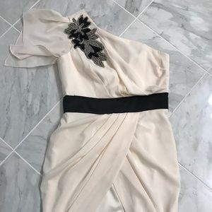 Aqua Off-White One Shoulder Dress w/ Beading